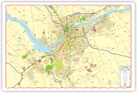 PROGEO MARKETING MAP OF Ottawa and Gatineau & Surroundings LAMINATED 2018 Wall Map with Postal Codes