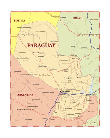 Map of Paraguay 8 x 10 Print