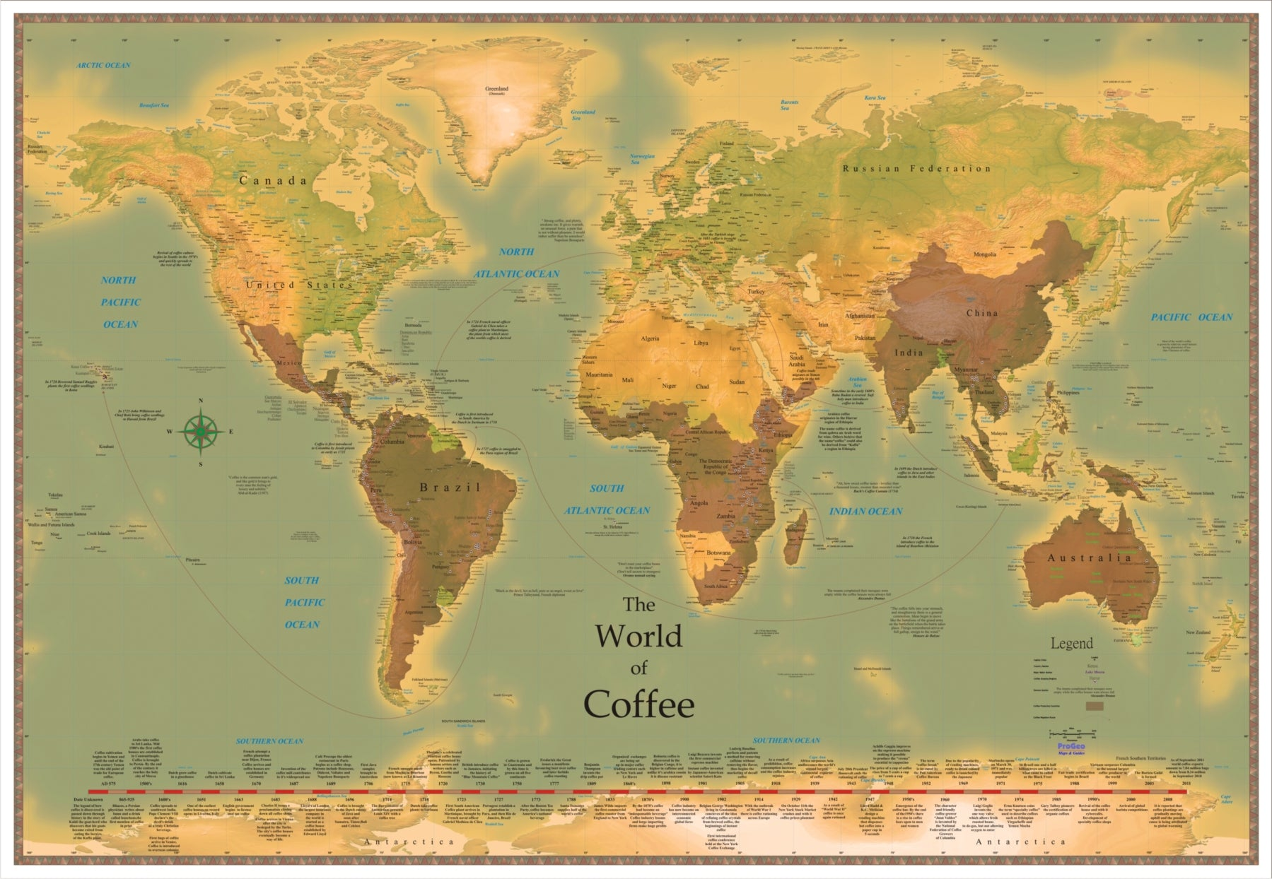 World Coffee Map 2018 Edition Exquisitely Detailed LARGE 48 x 72