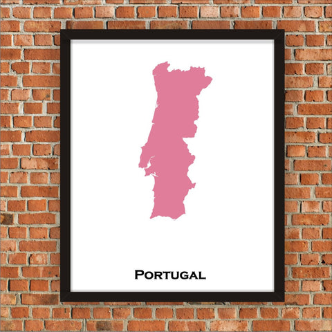 Minimalist Map Print of Portugal 16 x 20  Pink