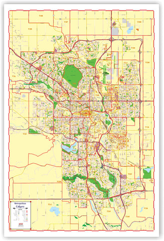 ProGeo Metro Calgary Marketing Map laminated with with Postal Codes