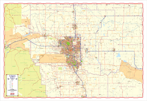 Map of the Calgary Region - Large and laminated New 2021 Edition with Postal Codes