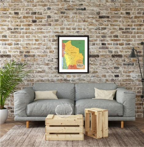 Map of Bolivia 8 x 10 Print