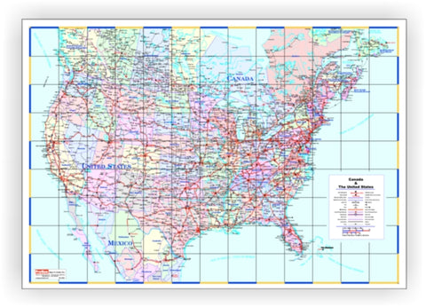"Large Laminated Canada United States Wall Map 48"" x 72"""