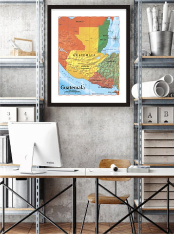 Map of Guatemala 8 x 10 Print