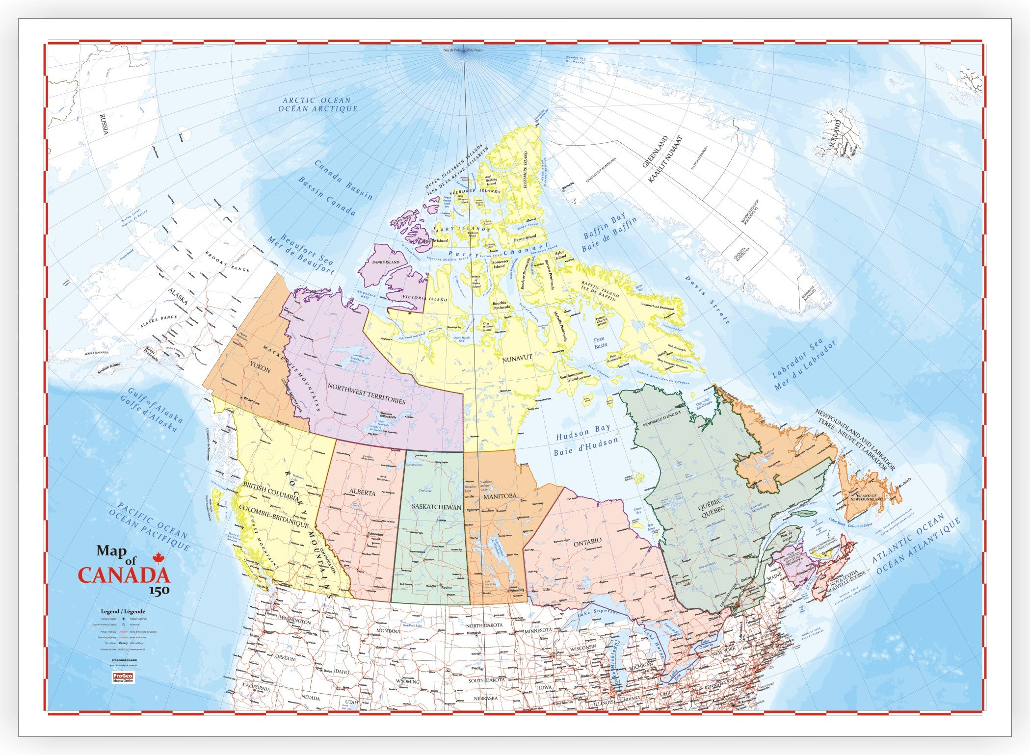 Easy Map Of Canada.Progeo Map Of Canada 150 Years Birthday Edition Laminated Large 48 X 72