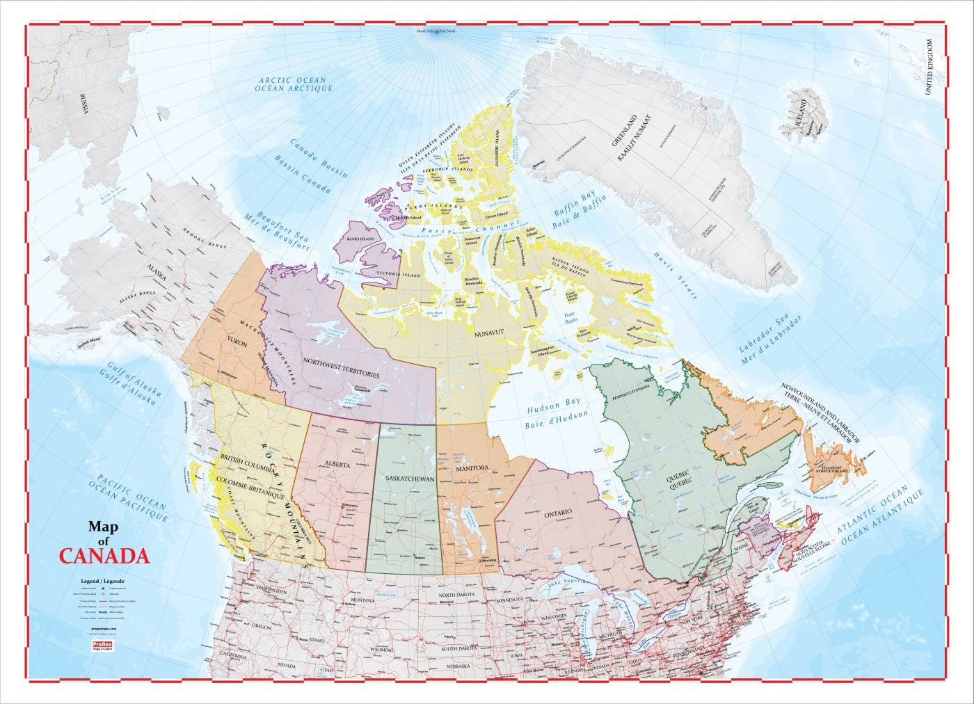 Map of Canada ProGeo Maps 2018 Edition LAMINATED Canada Map Images on africa map, the british isles map, alaska map, china map, canadian shield map, brazil map, europe map, ontario map, canadian provinces map, argentina map, texas map, chile map, portugal map, cyprus map, peru map, bc map, british columbia map, russia map, australia map, time zone map, greece map, czech republic map, dominican republic map, france map, california map, croatia map, usa map, alberta map, ireland map, germany map, quebec map, italy map, united states map, belgium map, united kingdom map, world map, great lakes map,