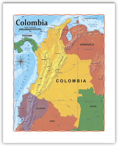 ProGeo Map of Colombia 8 x 10 Print or framed