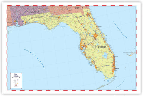 "PROGEO Trucker's Map of Florida Detailed large LAMINATED  48"" x 72"""