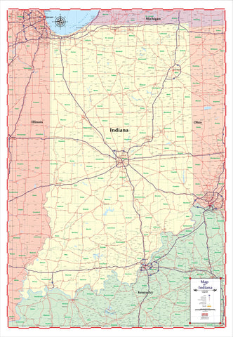 "ProGeo Maps Trucker's Wall Map of INDIANA  48"" X 72  LAMINATED 2018 EDITION"
