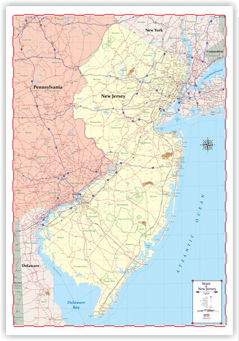 "ProGeo Maps Trucker's Wall Map of NEW JERSEY  48"" X 72  LAMINATED 2018 EDITION"