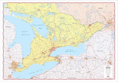 "ProGeo Map of Southern Ontario 2020 Edition Laminated Large 48"" x 72"""