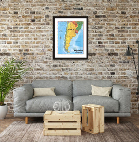 ProGeo Map of Argentina 8 x 10 Print or framed