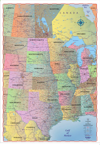 "Trucker's Wall Map of CENTRAL Canada, the United States  and Mexico  2018  48"" x 69"" LAMINATED"