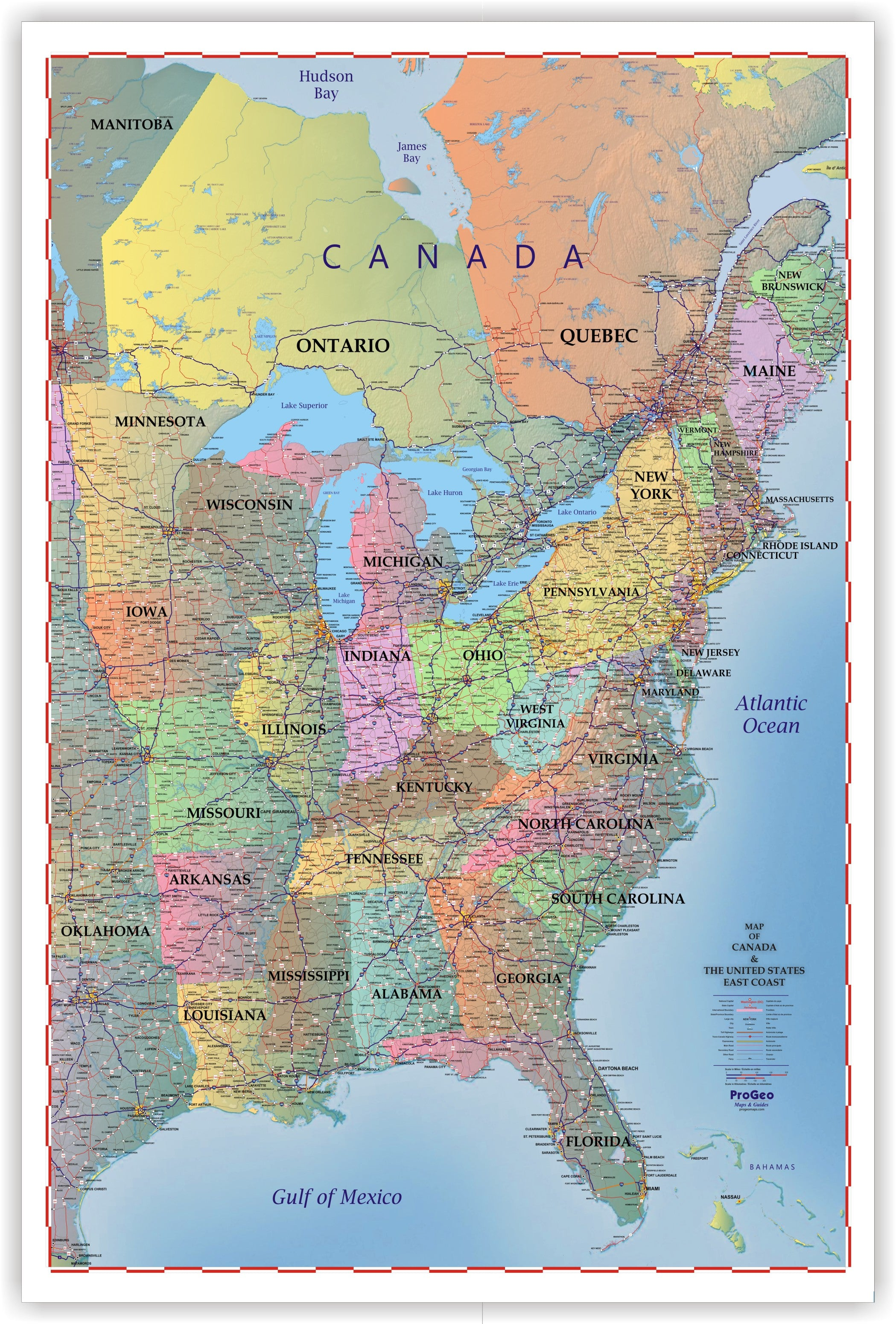 Truckers Wall Map of EAST COAST Canada and the United States 2018