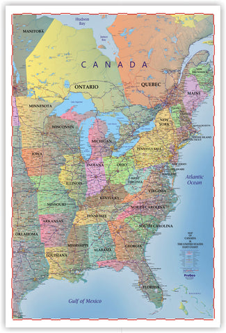 "Trucker's Wall Map of EAST COAST Canada and the United States  2018  48"" x 72"""