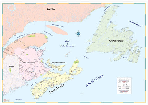 "Maritimes Medium Size Laminated Wall Map 48"" x 33"""