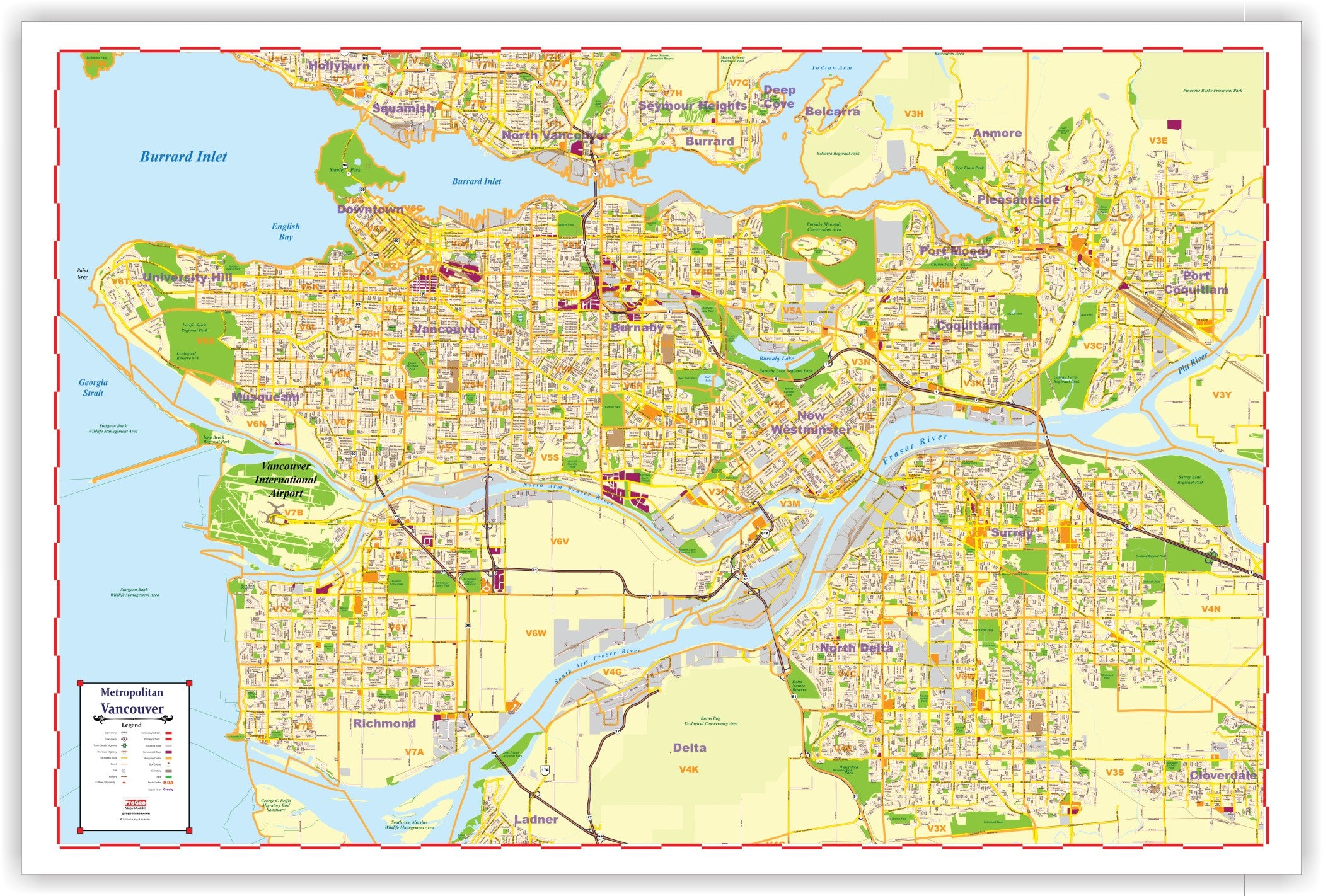 Progeo Metro Vancouver Marketing Map Laminated 48 X 72 With With