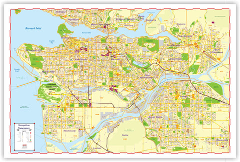 "ProGeo Metro Vancouver Marketing Map LAMINATED 48"" X 72""  with with POSTAL CODES"