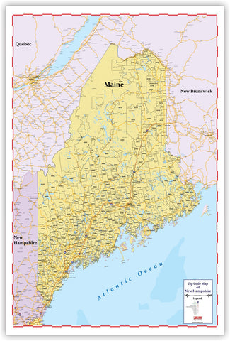 "ZIP CODE Wall Map of MAINE New 2019 version 48"" X 69  with thick lamination"