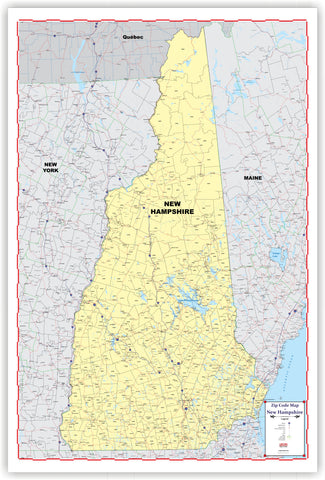 "ZIP CODE Wall Map of NEW HAMPSHIRE New 2019 version 48"" X 69  with thick lamination"