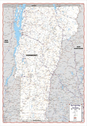 "ZIP CODE Large Map of VERMONT New 2021 version 48"" X 69  with thick lamination"
