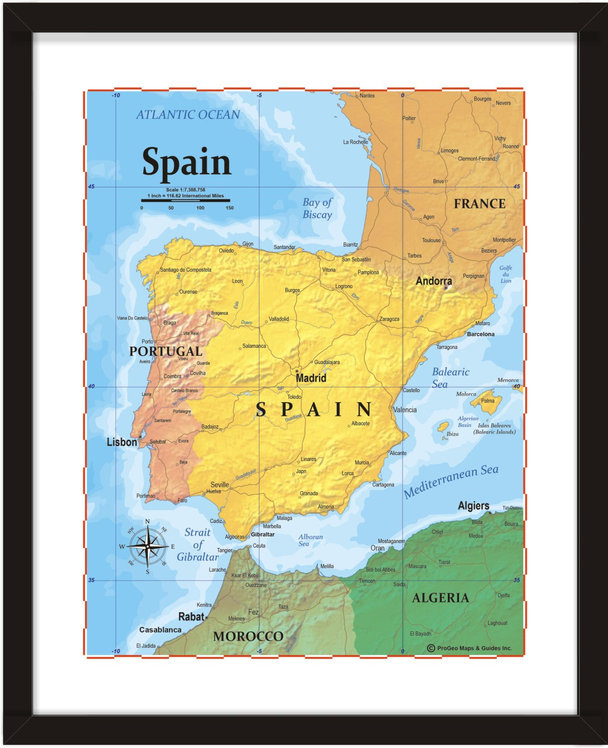 Map Of Spain For Printing.Progeo Map Of Spain 8 X 10 Print Or Framed Progeo Maps Guides