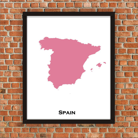 Minimalist Map Print of Spain 16 x 20  Amaranth Pink