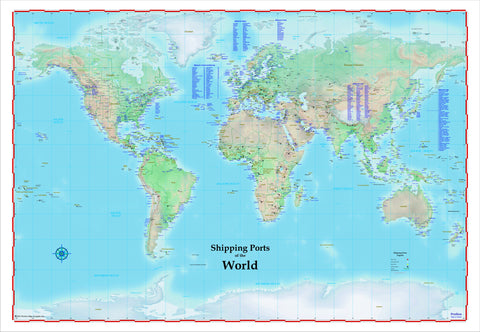 World Shipping Ports Map Laminated Rolled