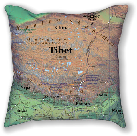 "Tibet Throw Pillow 18"" X 18"" DOUBLE SIDED"