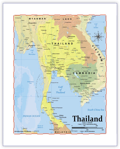 Map of Thailand 8 x 10 Print