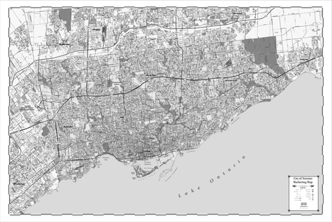 ProGeo Metro Toronto  BLACK AND WHITE Marketing Map laminated with with Postal Codes
