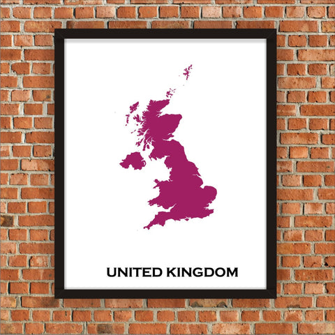 Minimalist Map Print of United Kingdom 16 x 20  Color: Plum Jam