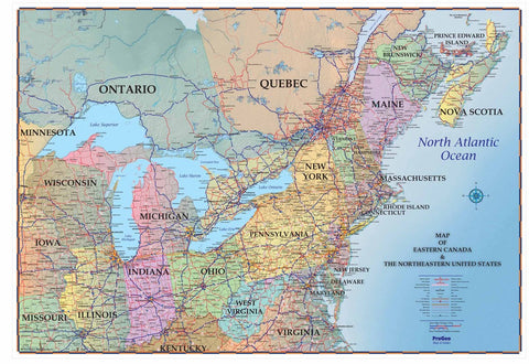 "Northeastern USA and Southeastern Canada  48"" x 72"" Laminated"