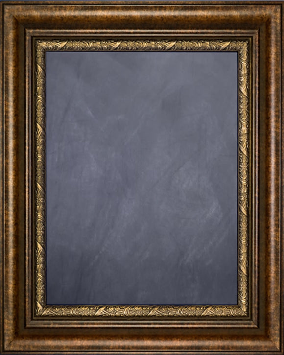 Framed Chalkboard - Copper Finish Frame with Brown Floral Lip