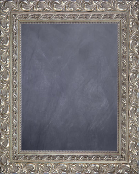 Framed Chalkboard - Ornate Antique Silver Finish Frame