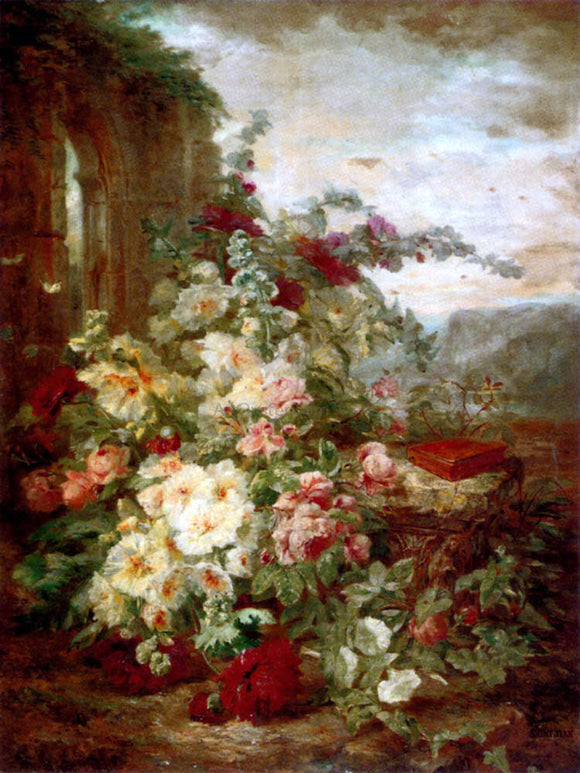 Simon Saint-Jean A Book on a Plinth by a Rose Bush at the Ruins - Canvas Art Print