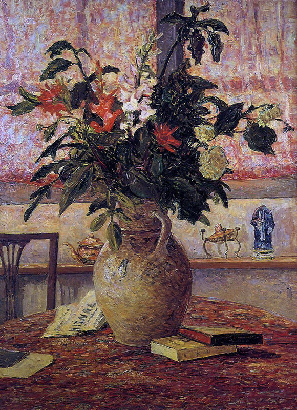 Maxime Maufra A Bouquet of Flowers in front of a Window - Canvas Art Print