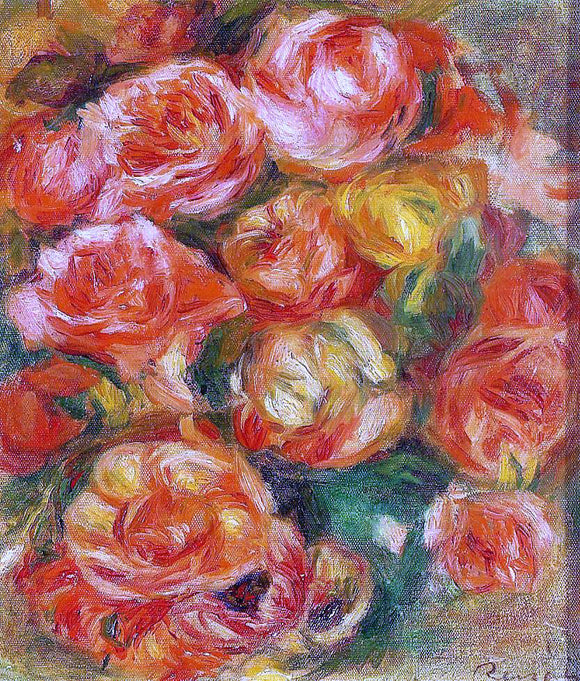 Pierre Auguste Renoir A Bowlful of Roses - Canvas Art Print
