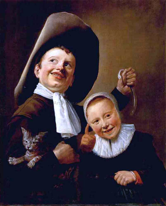 Judith Leyster A Boy and a Girl with a Cat and an Eel - Canvas Art Print
