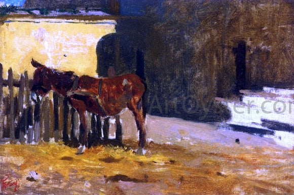 Mariano Fortuny Y Marsal A Burro on the Patio - Canvas Art Print