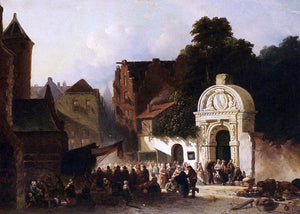 Jacobus Adrianus Vrolijk Busy Market In A Dutch Town - Canvas Art Print