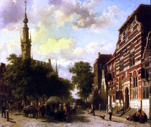 Cornelis Springer Busy Market in Veere with the Clocktower of the Town Hall Beyond - Canvas Art Print