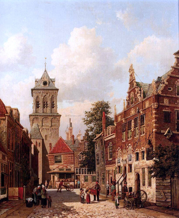Willem De Haas Hemken A Busy Street In A Town - Canvas Art Print