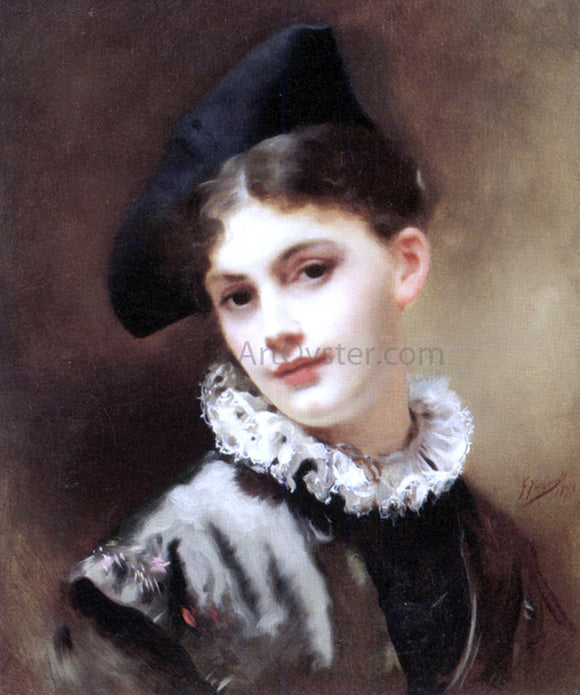 Gustave Jean Jacquet A Coquettish Smile - Canvas Art Print