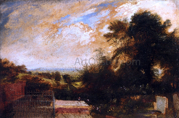 John Martin Country Graveyard, Possibly Bunhill Fields, Finsbury, A Wooded Landscape Beyond - Canvas Art Print