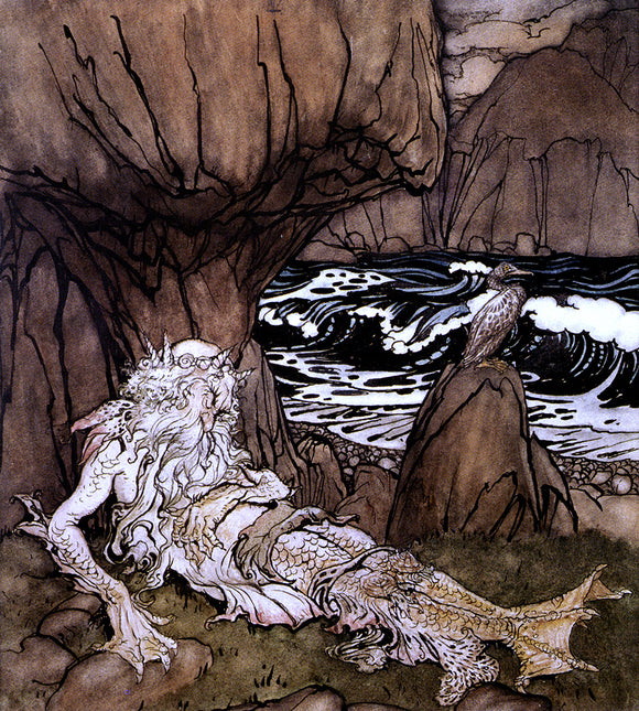 Arthur Rackham A Crowned Merman - Canvas Art Print