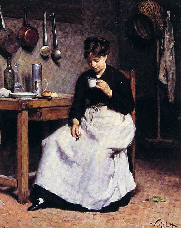 Victor Gabriel Gilbert A Cup of Coffee - Canvas Art Print