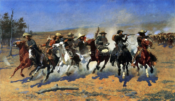 Frederic Remington A Dash for the Timber - Canvas Art Print