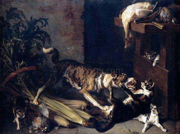 Alexandre-Francois Desportes Dog and a Cat Fighting in a Kitchen Interior - Canvas Art Print